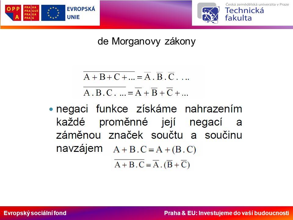 Evropský sociální fond Praha & EU: Investujeme do vaší budoucnosti de Morganovy zákony