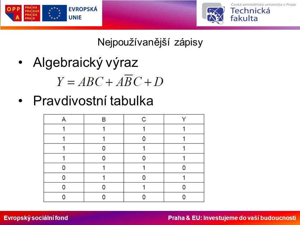 Evropský sociální fond Praha & EU: Investujeme do vaší budoucnosti Nejpoužívanější zápisy Algebraický výraz Pravdivostní tabulka