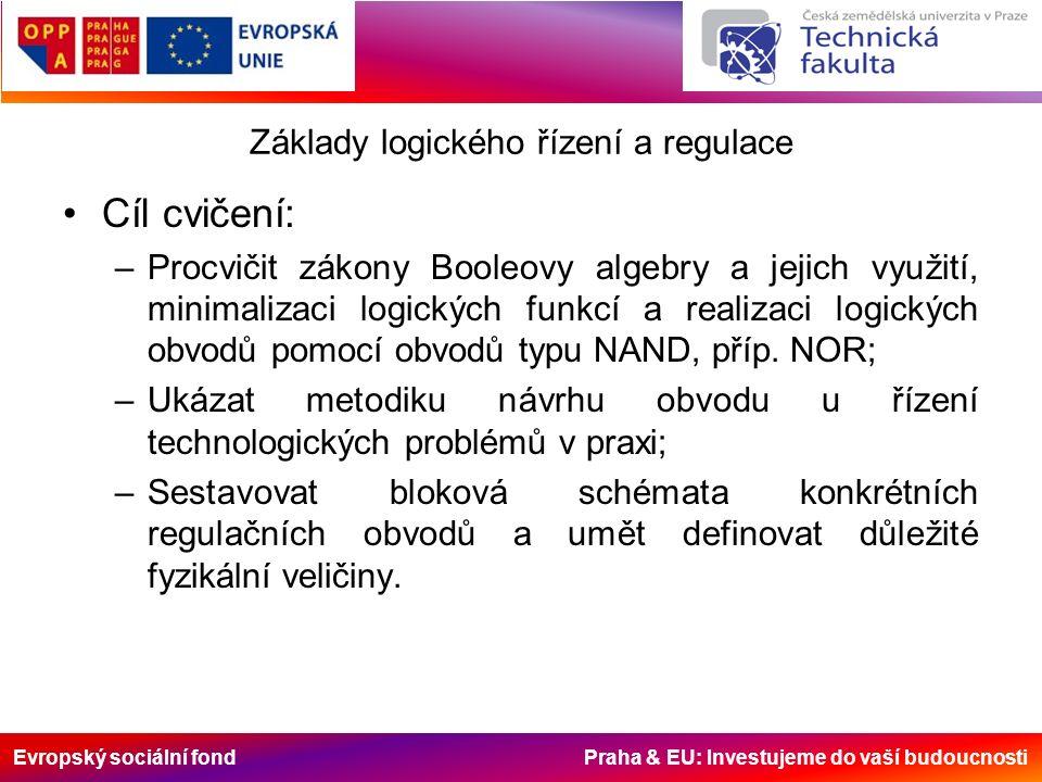 Evropský sociální fond Praha & EU: Investujeme do vaší budoucnosti Základy logického řízení a regulace Cíl cvičení: –Procvičit zákony Booleovy algebry