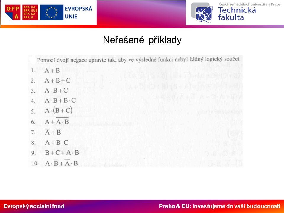 Evropský sociální fond Praha & EU: Investujeme do vaší budoucnosti Neřešené příklady