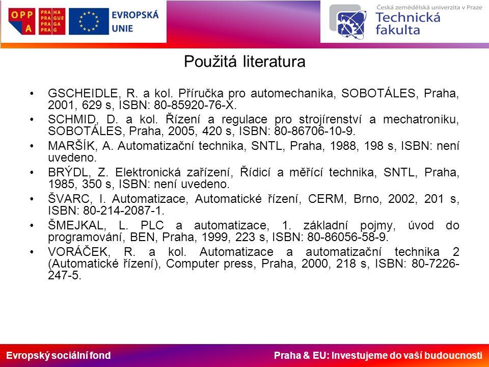Evropský sociální fond Praha & EU: Investujeme do vaší budoucnosti Použitá literatura GSCHEIDLE, R. a kol. Příručka pro automechanika, SOBOTÁLES, Prah