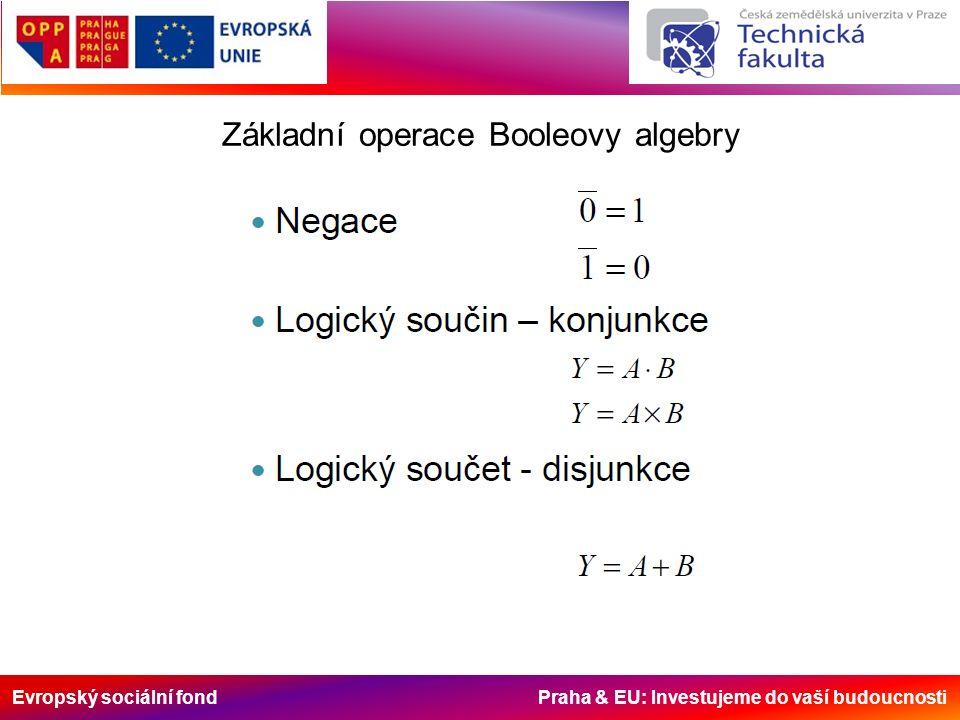 Evropský sociální fond Praha & EU: Investujeme do vaší budoucnosti Základní operace Booleovy algebry