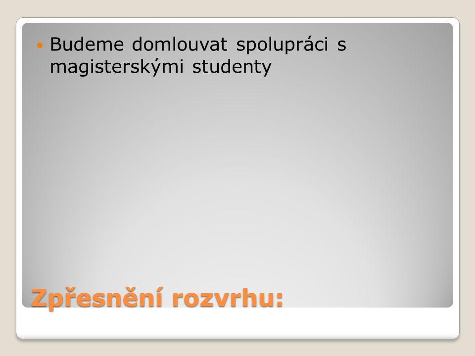 Zpřesnění rozvrhu: Budeme domlouvat spolupráci s magisterskými studenty