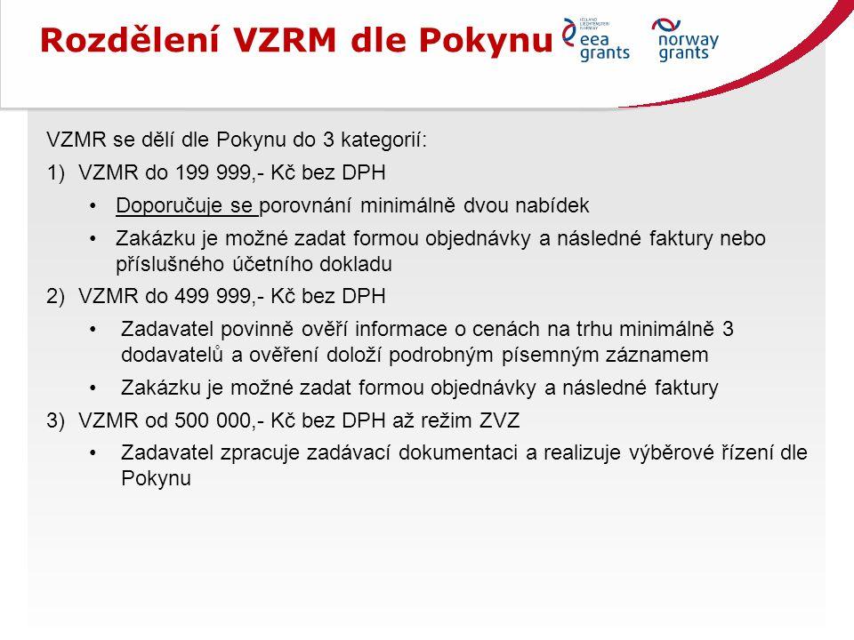 Rozdělení VZRM dle Pokynu VZMR se dělí dle Pokynu do 3 kategorií: 1)VZMR do 199 999,- Kč bez DPH Doporučuje se porovnání minimálně dvou nabídek Zakázku je možné zadat formou objednávky a následné faktury nebo příslušného účetního dokladu 2)VZMR do 499 999,- Kč bez DPH Zadavatel povinně ověří informace o cenách na trhu minimálně 3 dodavatelů a ověření doloží podrobným písemným záznamem Zakázku je možné zadat formou objednávky a následné faktury 3)VZMR od 500 000,- Kč bez DPH až režim ZVZ Zadavatel zpracuje zadávací dokumentaci a realizuje výběrové řízení dle Pokynu