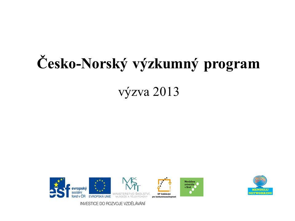 Česko-Norský výzkumný program výzva 2013