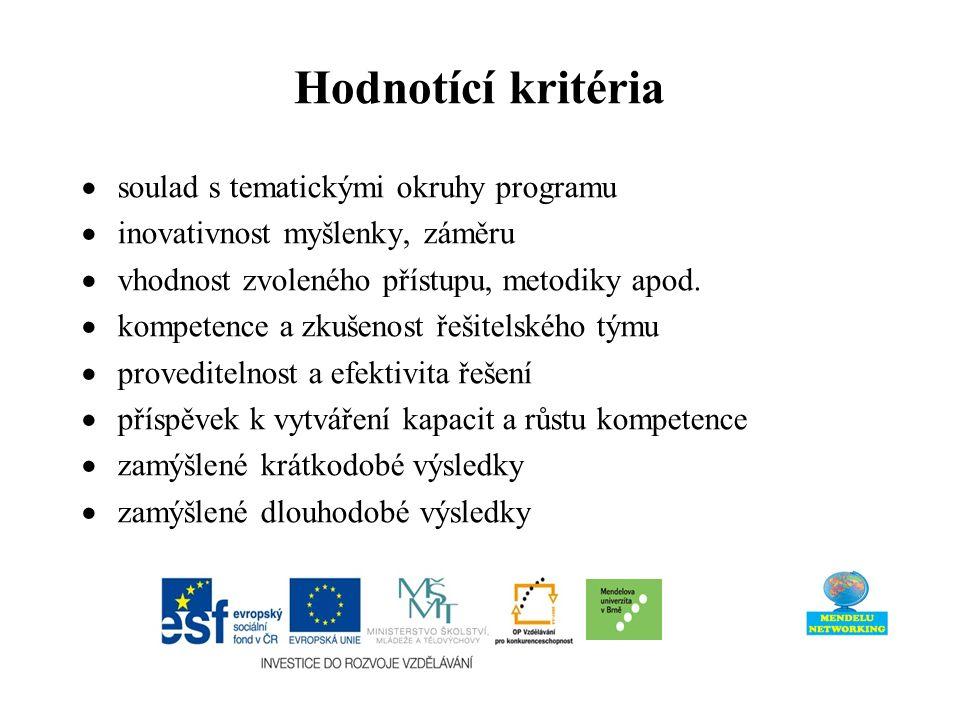 Hodnotící kritéria  soulad s tematickými okruhy programu  inovativnost myšlenky, záměru  vhodnost zvoleného přístupu, metodiky apod.  kompetence a