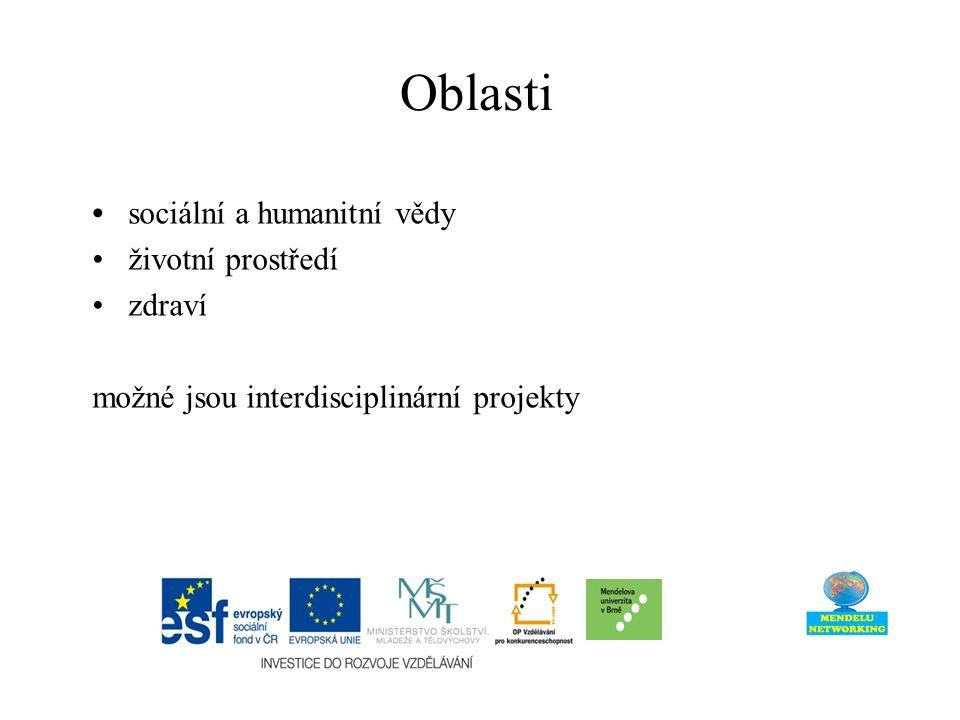 Oblasti sociální a humanitní vědy životní prostředí zdraví možné jsou interdisciplinární projekty