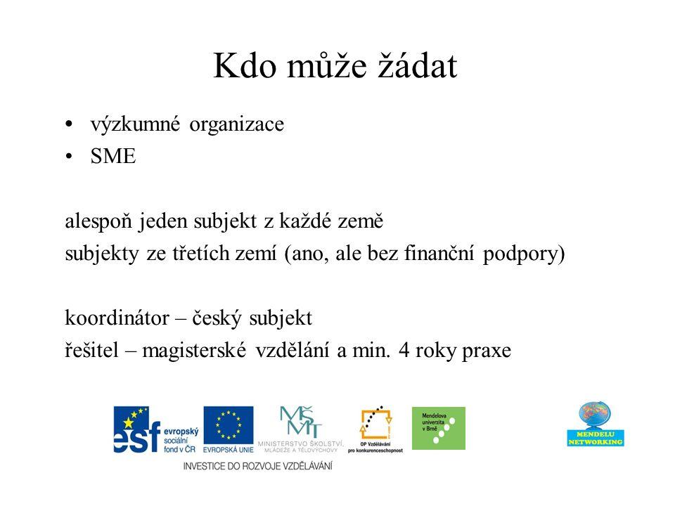 Kdo může žádat výzkumné organizace SME alespoň jeden subjekt z každé země subjekty ze třetích zemí (ano, ale bez finanční podpory) koordinátor – český subjekt řešitel – magisterské vzdělání a min.