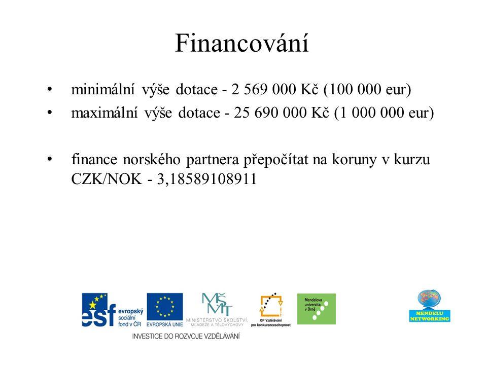 minimální výše dotace - 2 569 000 Kč (100 000 eur) maximální výše dotace - 25 690 000 Kč (1 000 000 eur) finance norského partnera přepočítat na koruny v kurzu CZK/NOK - 3,18589108911