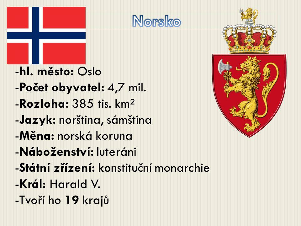 -hl. město: Oslo -Počet obyvatel: 4,7 mil. -Rozloha: 385 tis. km² -Jazyk: norština, sámština -Měna: norská koruna -Náboženství: luteráni -Státní zříze