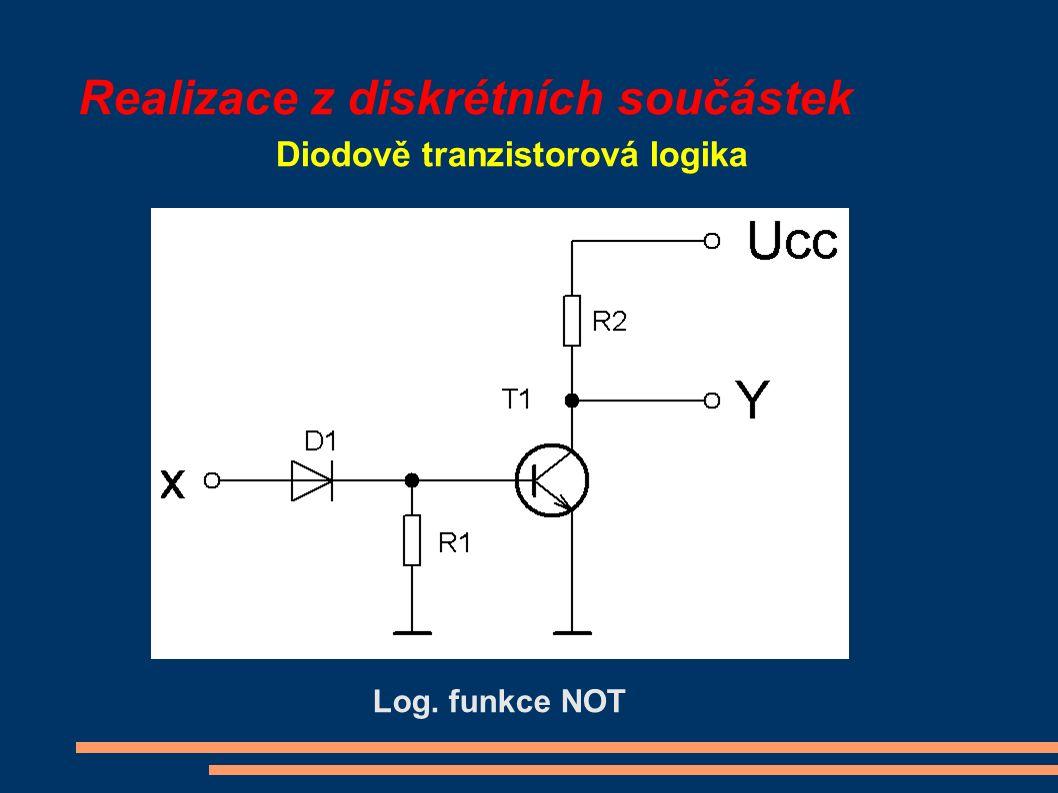 Realizace z diskrétních součástek Diodově tranzistorová logika Log. funkce NOT