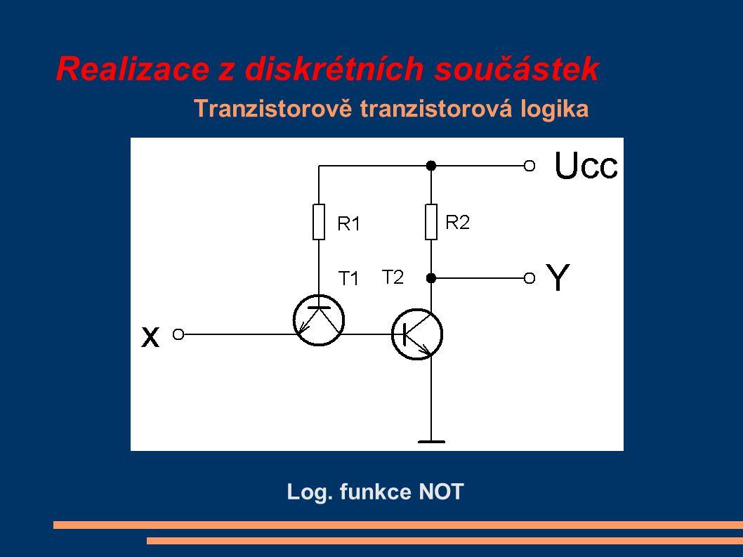 Realizace z diskrétních součástek Tranzistorově tranzistorová logika Log. funkce NOT