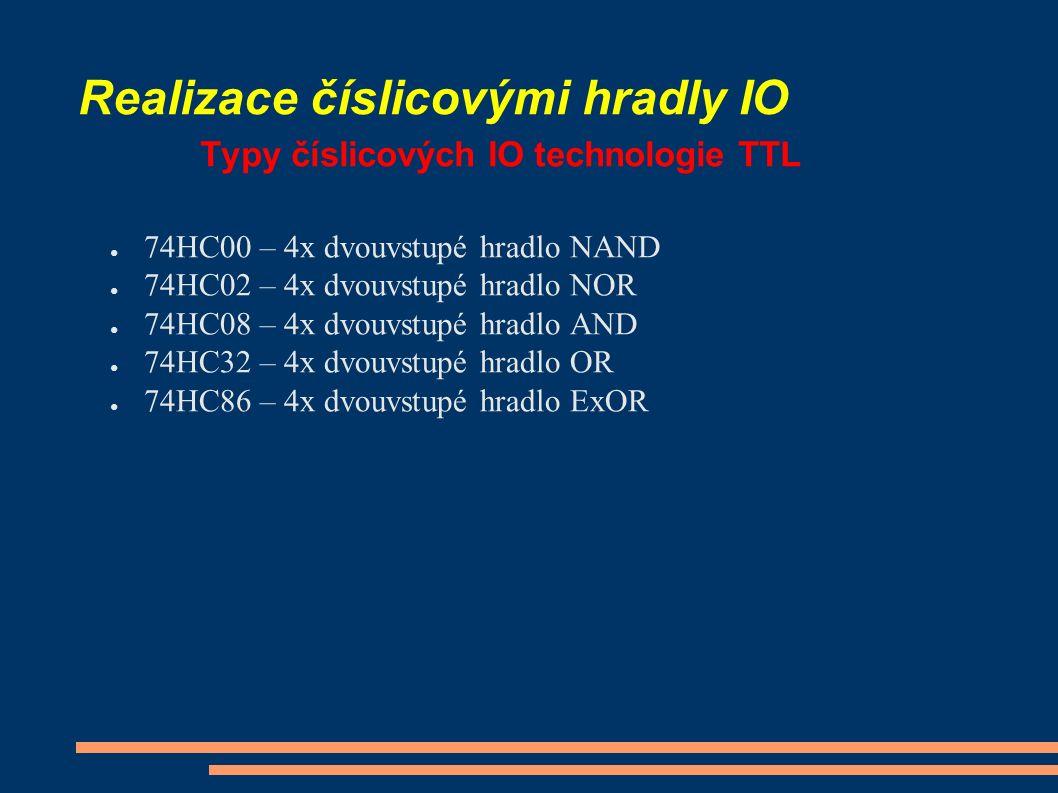 Realizace číslicovými hradly IO Typy číslicových IO technologie TTL ● 74HC00 – 4x dvouvstupé hradlo NAND ● 74HC02 – 4x dvouvstupé hradlo NOR ● 74HC08