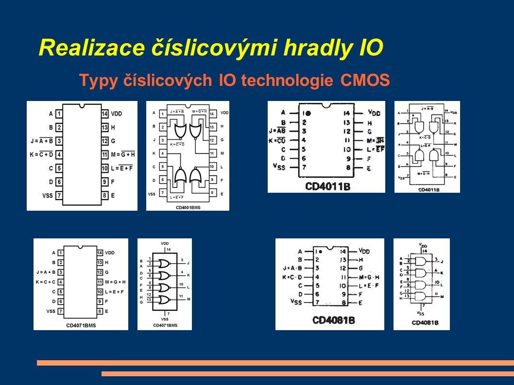 Realizace číslicovými hradly IO Typy číslicových IO technologie CMOS