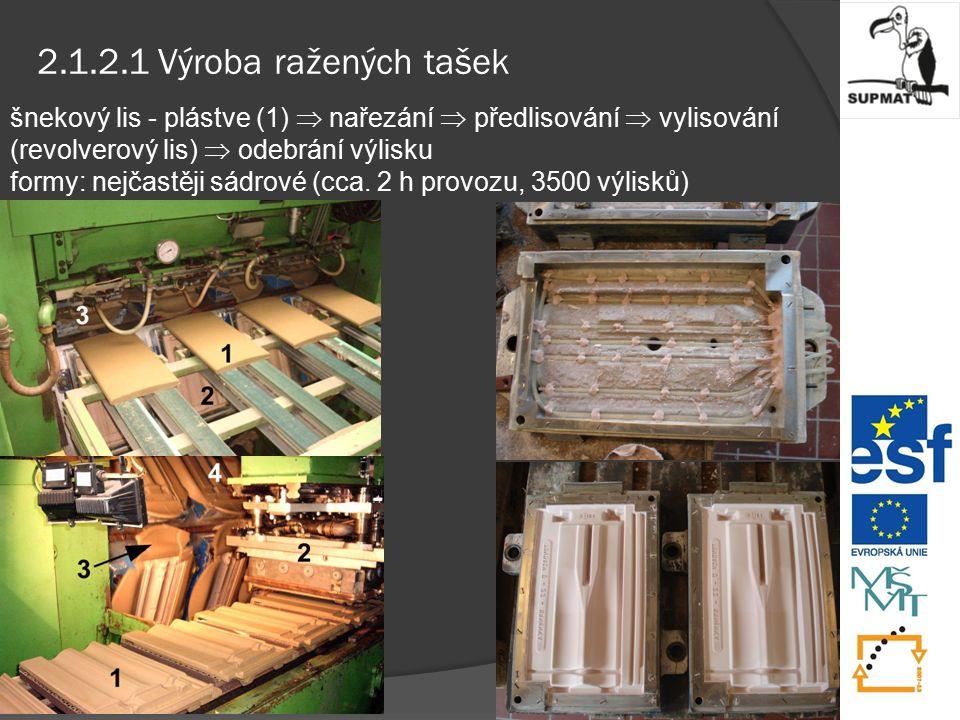 2.1.2.1 Výroba ražených tašek šnekový lis - plástve (1)  nařezání  předlisování  vylisování (revolverový lis)  odebrání výlisku formy: nejčastěji sádrové (cca.