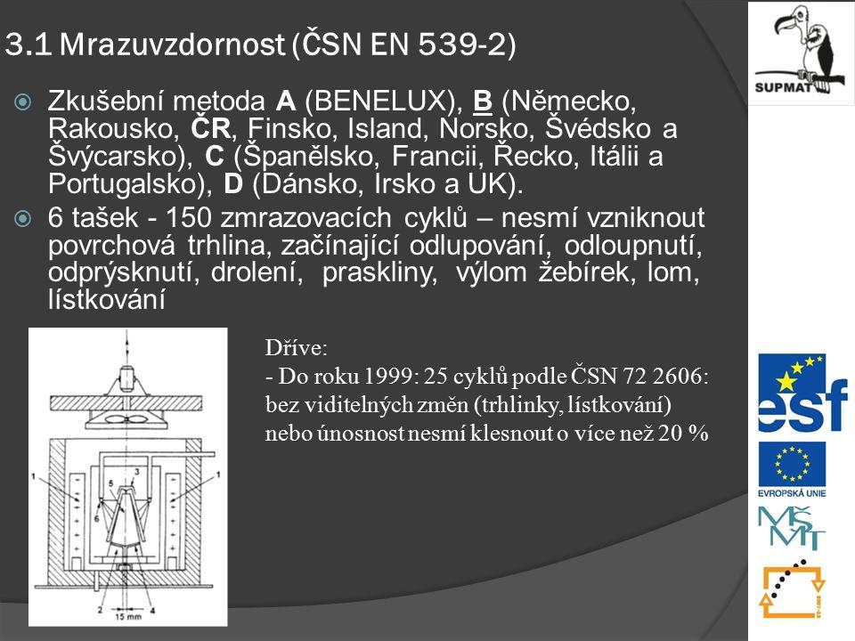 3.1 Mrazuvzdornost (ČSN EN 539-2)  Zkušební metoda A (BENELUX), B (Německo, Rakousko, ČR, Finsko, Island, Norsko, Švédsko a Švýcarsko), C (Španělsko, Francii, Řecko, Itálii a Portugalsko), D (Dánsko, Irsko a UK).