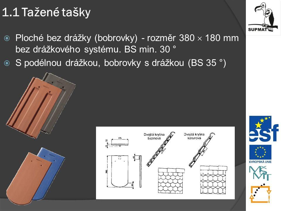 1.1 Tažené tašky  Ploché bez drážky (bobrovky) - rozměr 380  180 mm bez drážkového systému.