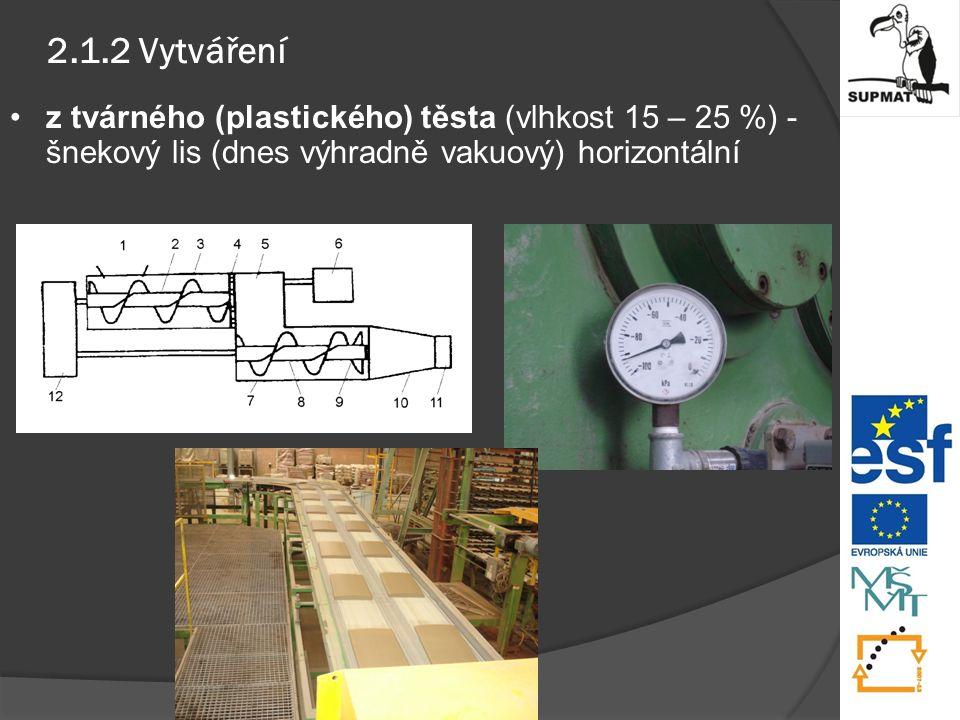 2.1.2 Vytváření z tvárného (plastického) těsta (vlhkost 15 – 25 %) - šnekový lis (dnes výhradně vakuový) horizontální