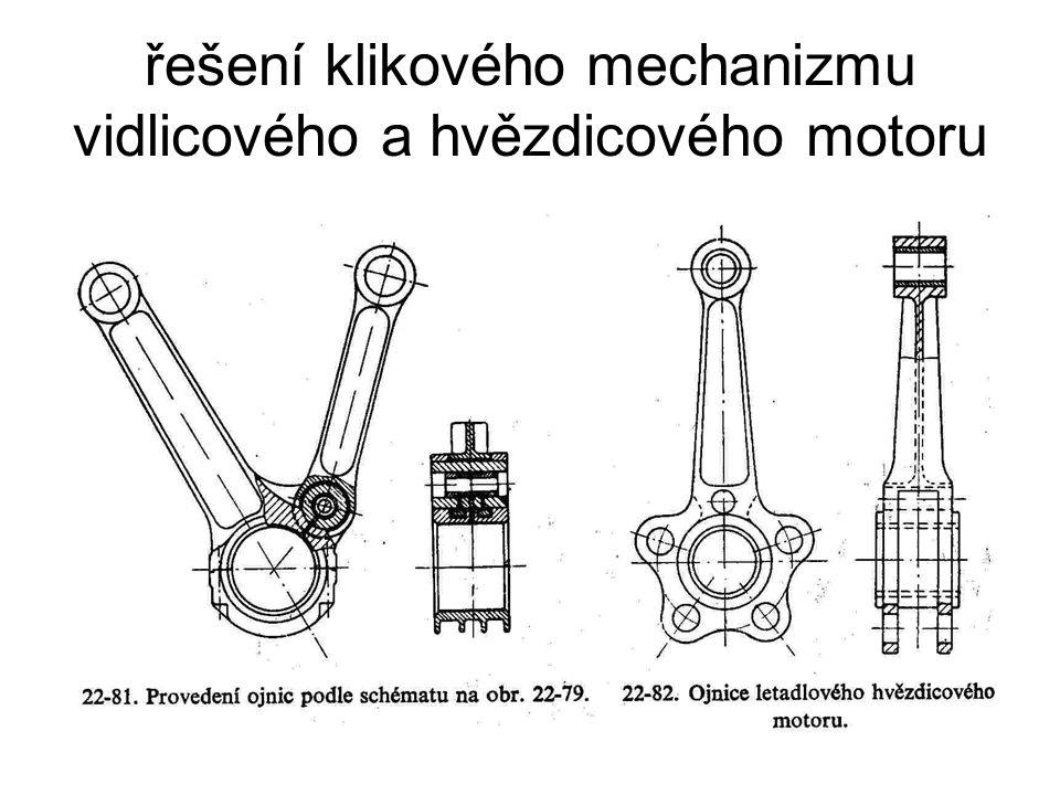řešení klikového mechanizmu vidlicového a hvězdicového motoru