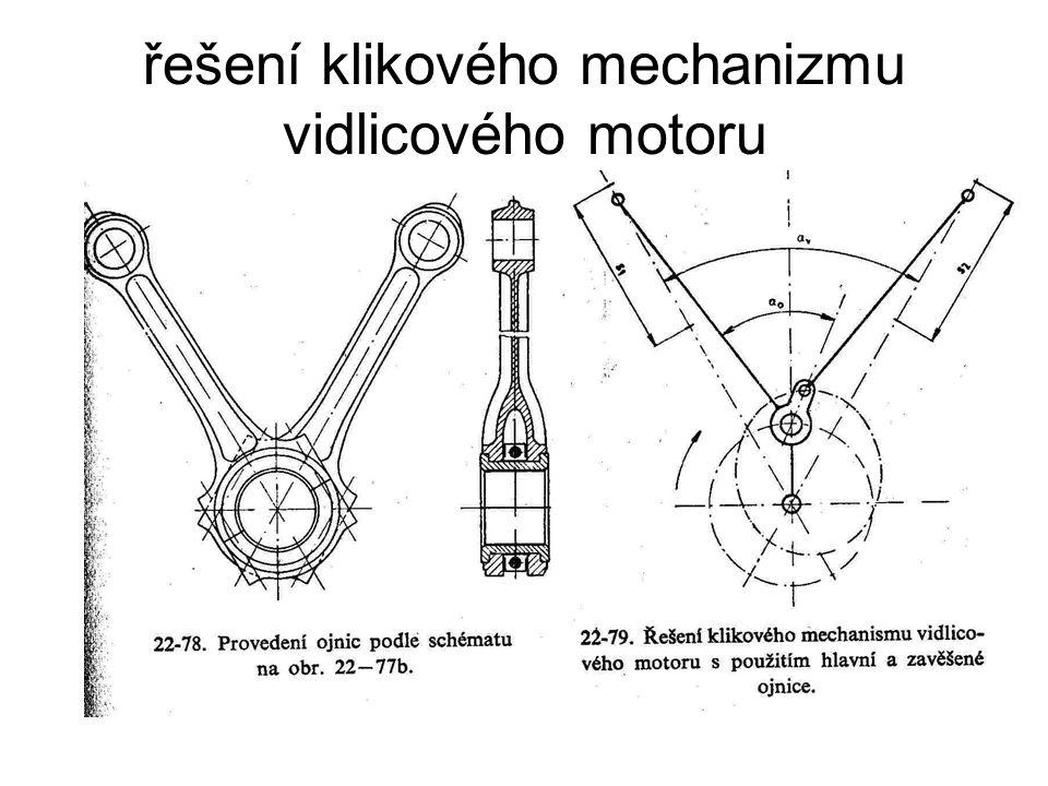 řešení klikového mechanizmu vidlicového motoru