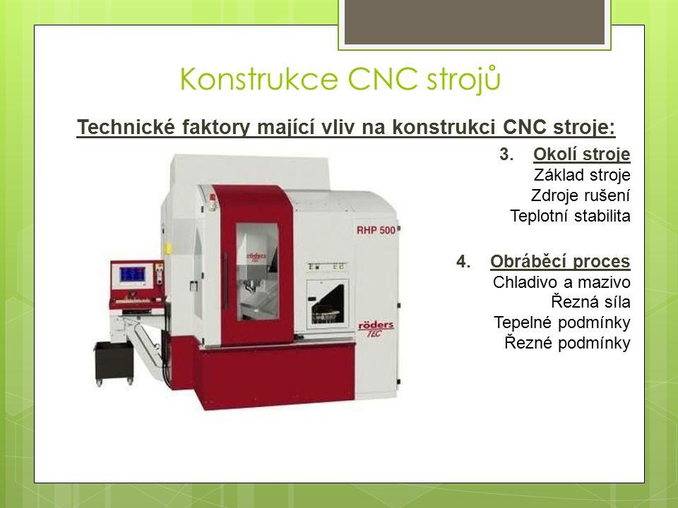 Technické faktory mající vliv na konstrukci CNC stroje: 3.Okolí stroje Základ stroje Zdroje rušení Teplotní stabilita 4.Obráběcí proces Chladivo a mazivo Řezná síla Tepelné podmínky Řezné podmínky