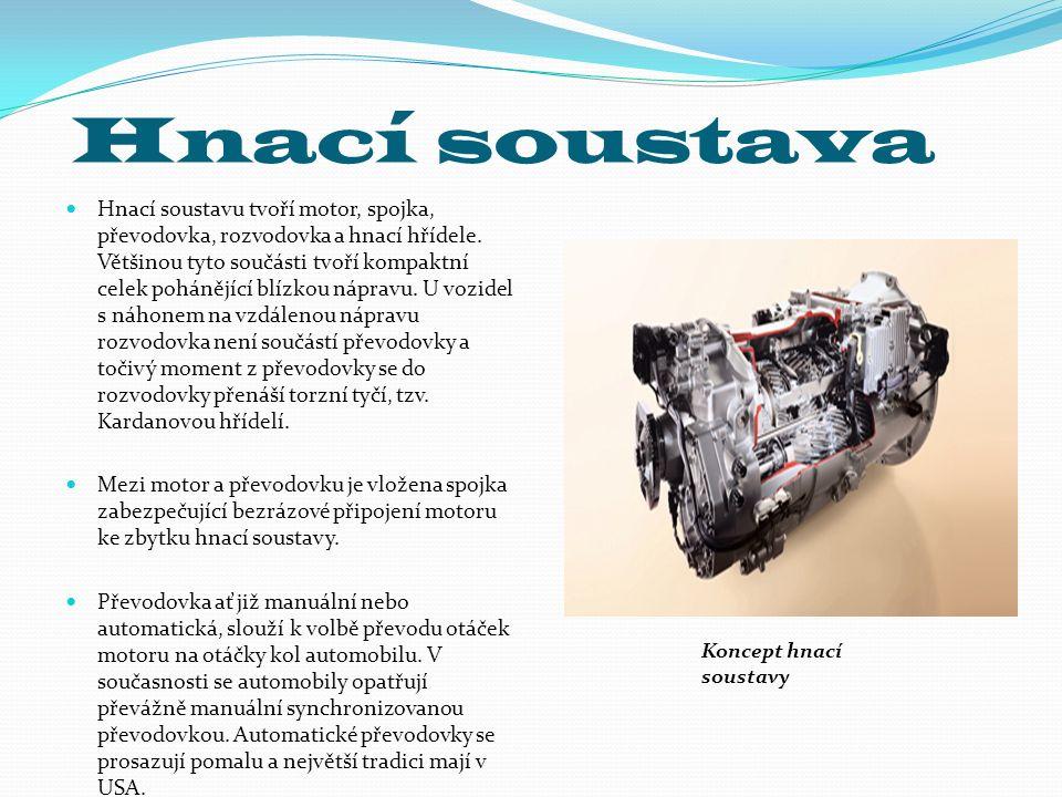 Hnací soustava Hnací soustavu tvoří motor, spojka, převodovka, rozvodovka a hnací hřídele. Většinou tyto součásti tvoří kompaktní celek pohánějící blí