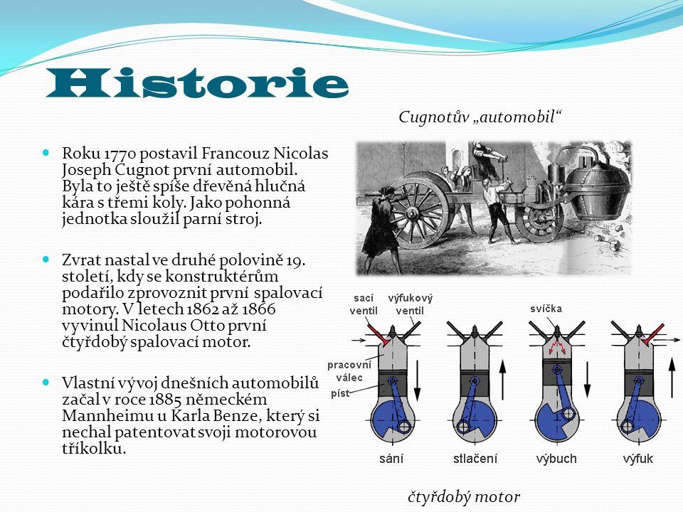 Historie Roku 1770 postavil Francouz Nicolas Joseph Cugnot první automobil. Byla to ještě spíše dřevěná hlučná kára s třemi koly. Jako pohonná jednotk