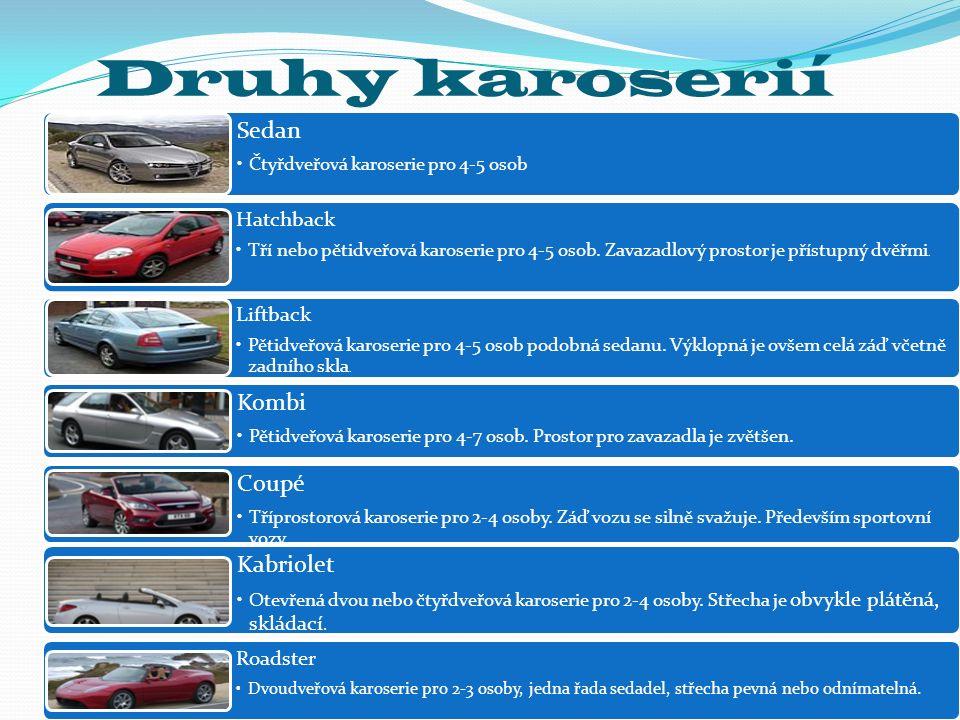 Druhy karoserií Sedan Čtyřdveřová karoserie pro 4-5 osob Hatchback Tří nebo pětidveřová karoserie pro 4-5 osob. Zavazadlový prostor je přístupný dvěřm
