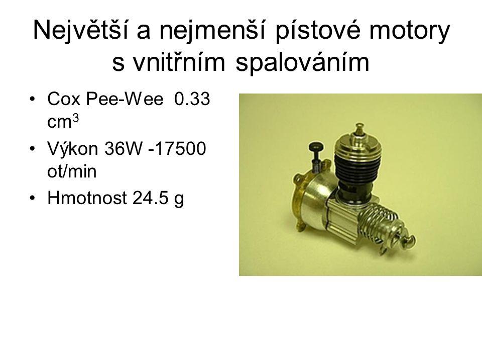 Největší a nejmenší pístové motory s vnitřním spalováním Cox Pee-Wee 0.33 cm 3 Výkon 36W -17500 ot/min Hmotnost 24.5 g