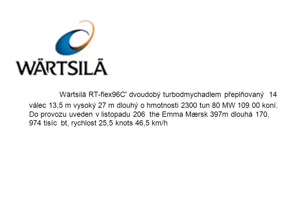 Wärtsilä RT-flex96C dvoudobý turbodmychadlem přeplňovaný 14 válec 13,5 m vysoký 27 m dlouhý o hmotnosti 2300 tun 80 MW 109 00 koní.
