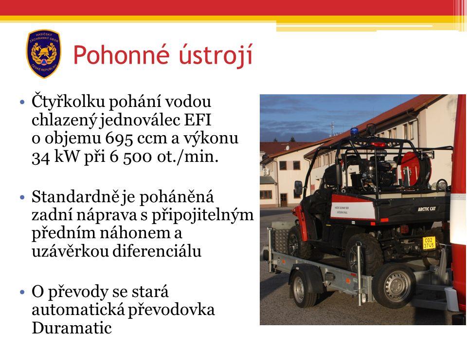 Čtyřkolku pohání vodou chlazený jednoválec EFI o objemu 695 ccm a výkonu 34 kW při 6 500 ot./min.