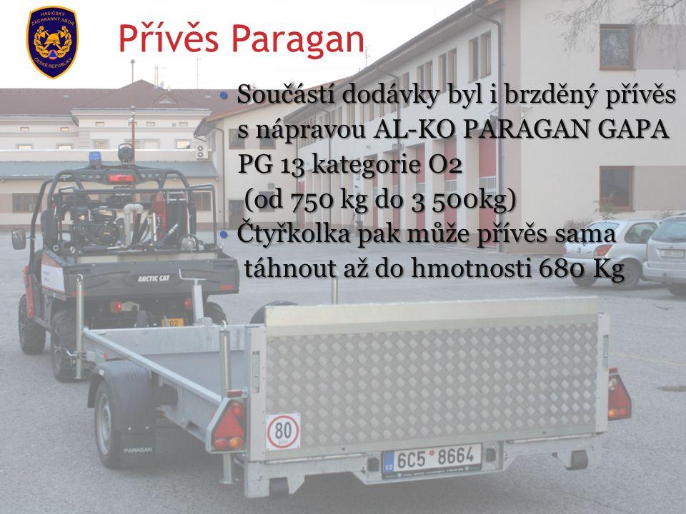 Součástí dodávky byl i brzděný přívěsSoučástí dodávky byl i brzděný přívěs s nápravou AL-KO PARAGAN GAPA s nápravou AL-KO PARAGAN GAPA PG 13 kategorie O2 PG 13 kategorie O2 (od 750 kg do 3 500kg) (od 750 kg do 3 500kg) Čtyřkolka pak může přívěs samaČtyřkolka pak může přívěs sama táhnout až do hmotnosti 680 Kg táhnout až do hmotnosti 680 Kg Přívěs Paragan