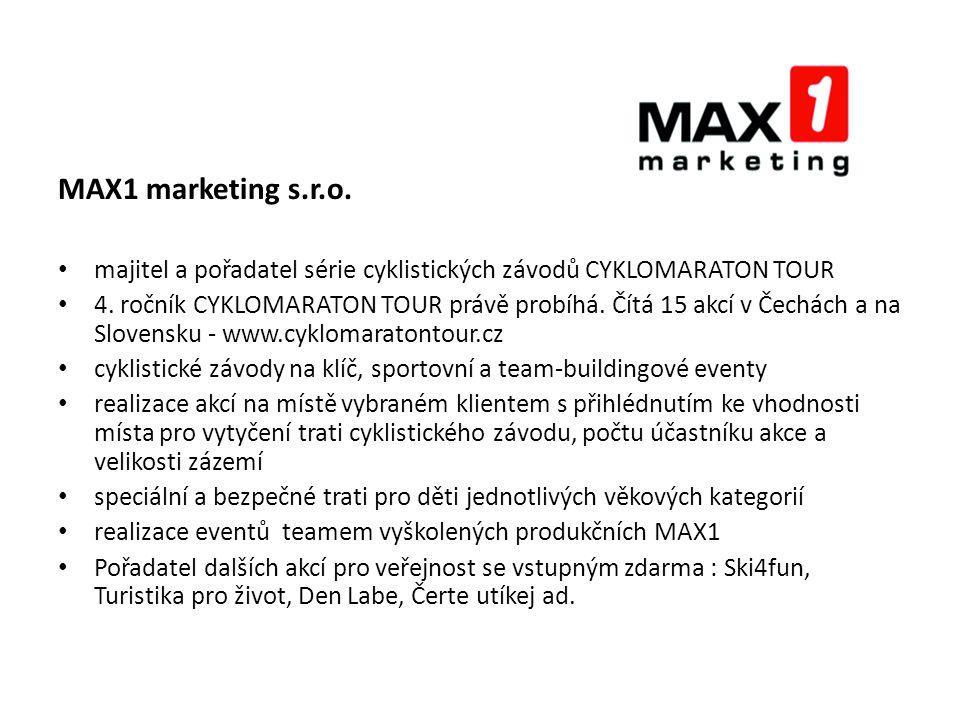 MAX1 marketing s.r.o. majitel a pořadatel série cyklistických závodů CYKLOMARATON TOUR 4.