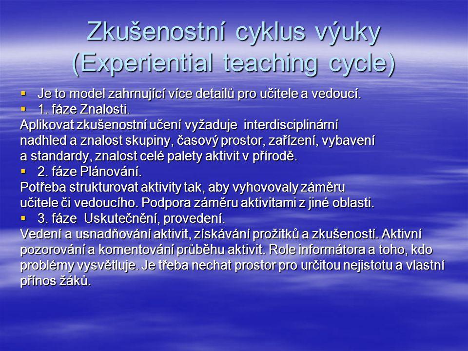 Zkušenostní cyklus výuky (Experiential teaching cycle)  Je to model zahrnující více detailů pro učitele a vedoucí.