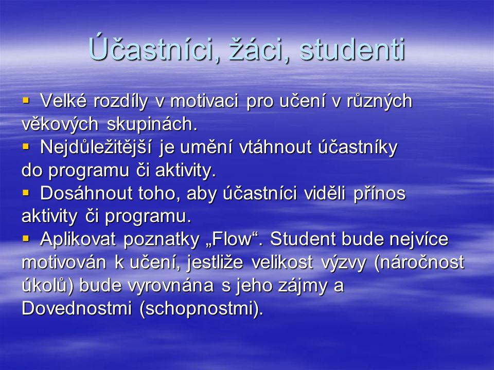 Účastníci, žáci, studenti  Velké rozdíly v motivaci pro učení v různých věkových skupinách.