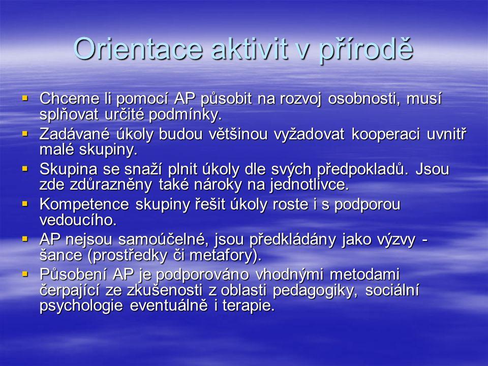 Orientace aktivit v přírodě  Chceme li pomocí AP působit na rozvoj osobnosti, musí splňovat určité podmínky.