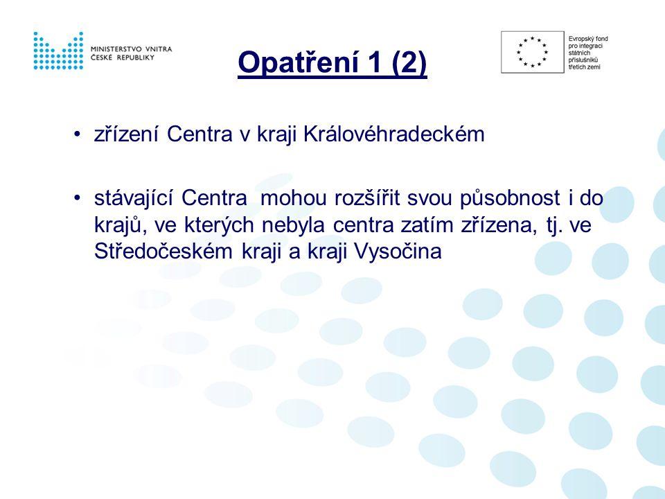 Opatření 1 (2) zřízení Centra v kraji Královéhradeckém stávající Centra mohou rozšířit svou působnost i do krajů, ve kterých nebyla centra zatím zřízena, tj.