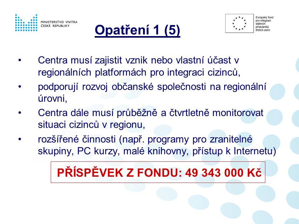 Opatření 1 (5) Centra musí zajistit vznik nebo vlastní účast v regionálních platformách pro integraci cizinců, podporují rozvoj občanské společnosti na regionální úrovni, Centra dále musí průběžně a čtvrtletně monitorovat situaci cizinců v regionu, rozšířené činnosti (např.
