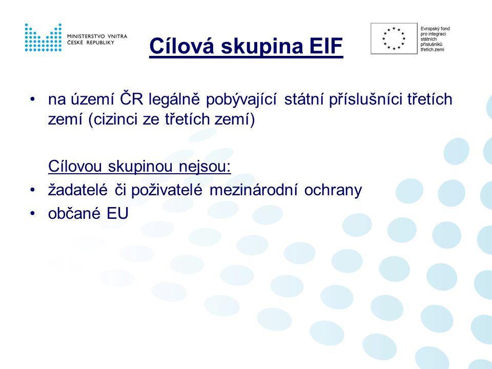 Cílová skupina EIF na území ČR legálně pobývající státní příslušníci třetích zemí (cizinci ze třetích zemí) Cílovou skupinou nejsou: žadatelé či poživatelé mezinárodní ochrany občané EU