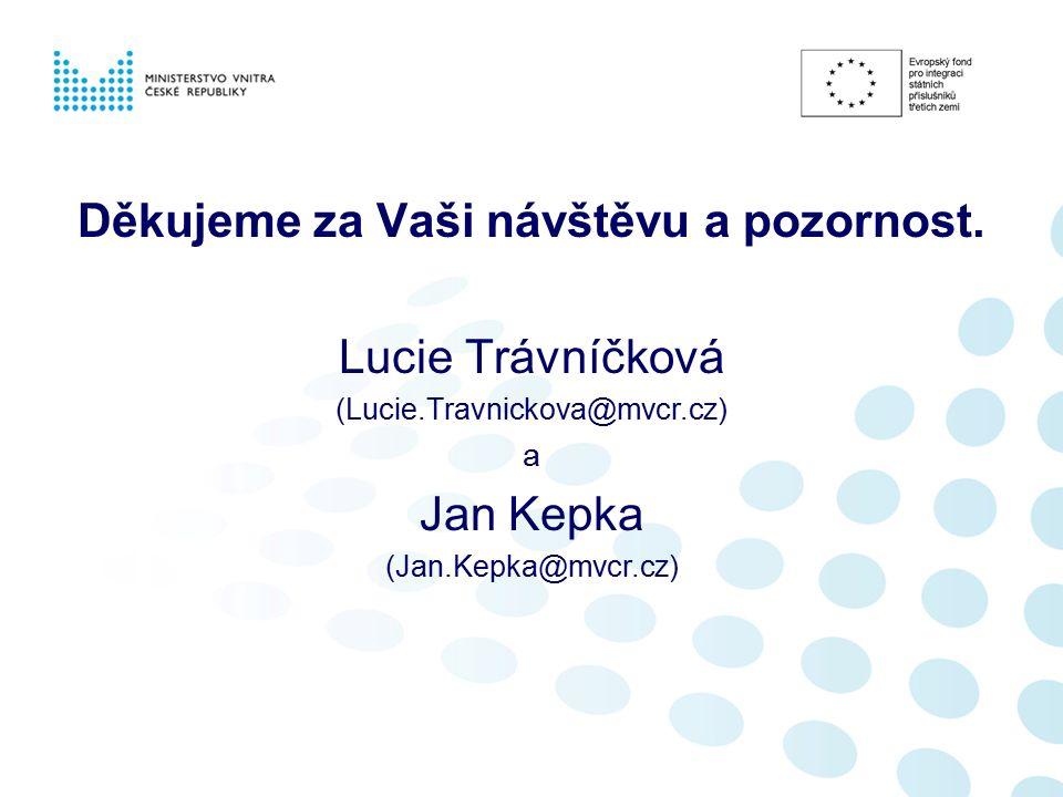 Děkujeme za Vaši návštěvu a pozornost. Lucie Trávníčková (Lucie.Travnickova@mvcr.cz) a Jan Kepka (Jan.Kepka@mvcr.cz)