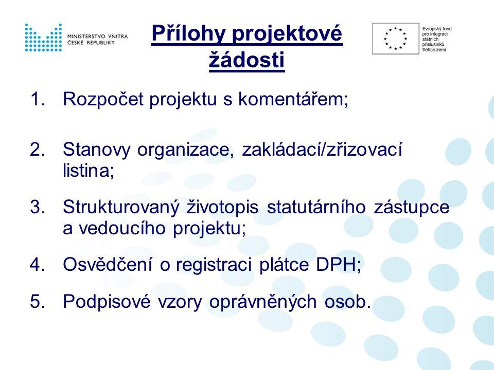 Přílohy projektové žádosti 1.Rozpočet projektu s komentářem; 2.Stanovy organizace, zakládací/zřizovací listina; 3.Strukturovaný životopis statutárního