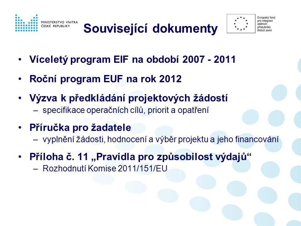 Související dokumenty Víceletý program EIF na období 2007 - 2011 Roční program EUF na rok 2012 Výzva k předkládání projektových žádostí –specifikace operačních cílů, priorit a opatření Příručka pro žadatele –vyplnění žádosti, hodnocení a výběr projektu a jeho financování Příloha č.
