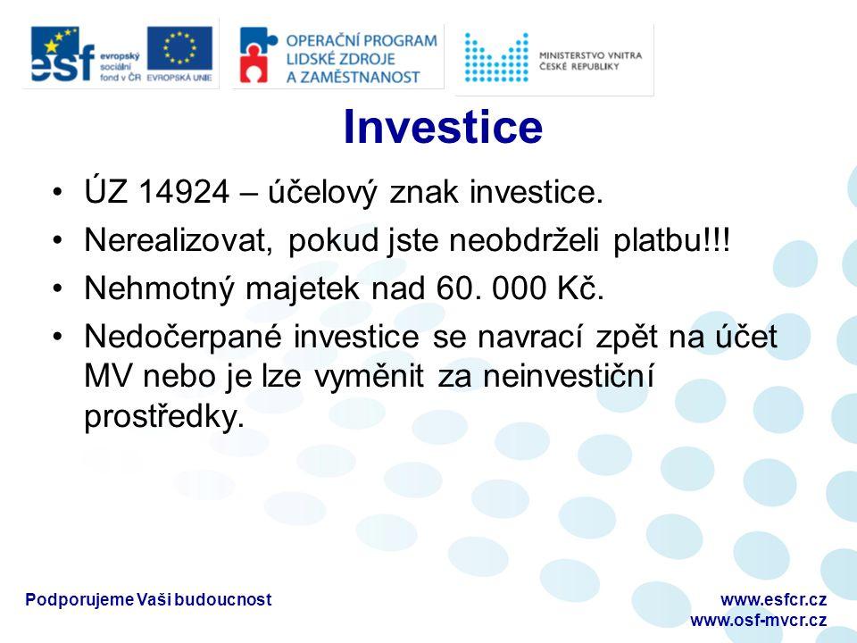 Investice ÚZ 14924 – účelový znak investice. Nerealizovat, pokud jste neobdrželi platbu!!.