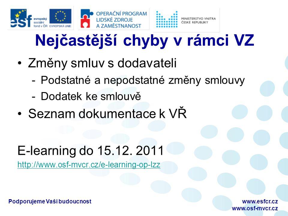 Nejčastější chyby v rámci VZ Změny smluv s dodavateli -Podstatné a nepodstatné změny smlouvy -Dodatek ke smlouvě Seznam dokumentace k VŘ E-learning do 15.12.