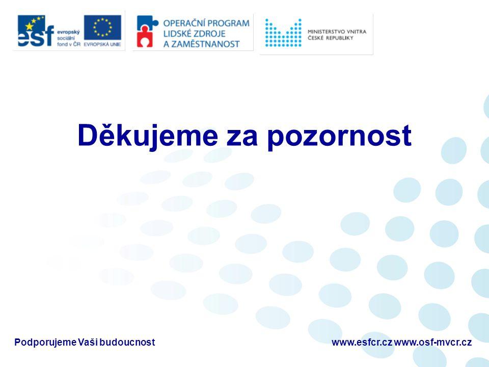 Děkujeme za pozornost Podporujeme Vaši budoucnostwww.esfcr.cz www.osf-mvcr.cz