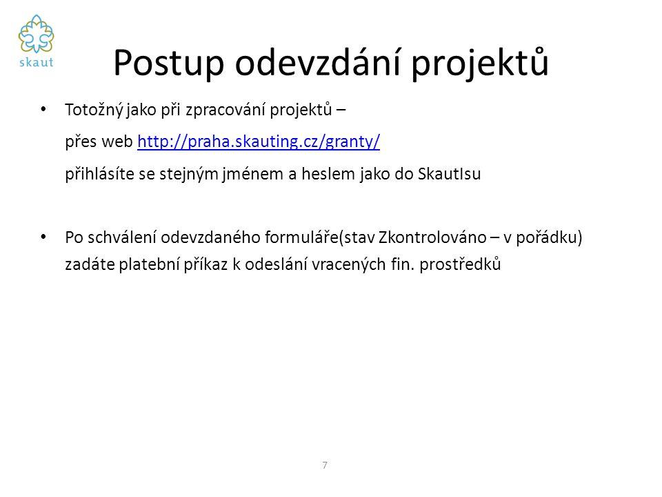 Postup odevzdání projektů Totožný jako při zpracování projektů – přes web http://praha.skauting.cz/granty/http://praha.skauting.cz/granty/ přihlásíte se stejným jménem a heslem jako do SkautIsu Po schválení odevzdaného formuláře(stav Zkontrolováno – v pořádku) zadáte platební příkaz k odeslání vracených fin.