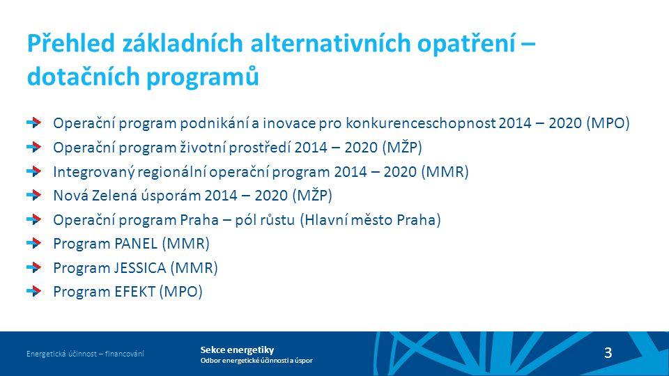 Sekce energetiky Odbor energetické účinnosti a úspor Energetická účinnost – financování 3 Přehled základních alternativních opatření – dotačních programů Operační program podnikání a inovace pro konkurenceschopnost 2014 – 2020 (MPO) Operační program životní prostředí 2014 – 2020 (MŽP) Integrovaný regionální operační program 2014 – 2020 (MMR) Nová Zelená úsporám 2014 – 2020 (MŽP) Operační program Praha – pól růstu (Hlavní město Praha) Program PANEL (MMR) Program JESSICA (MMR) Program EFEKT (MPO)