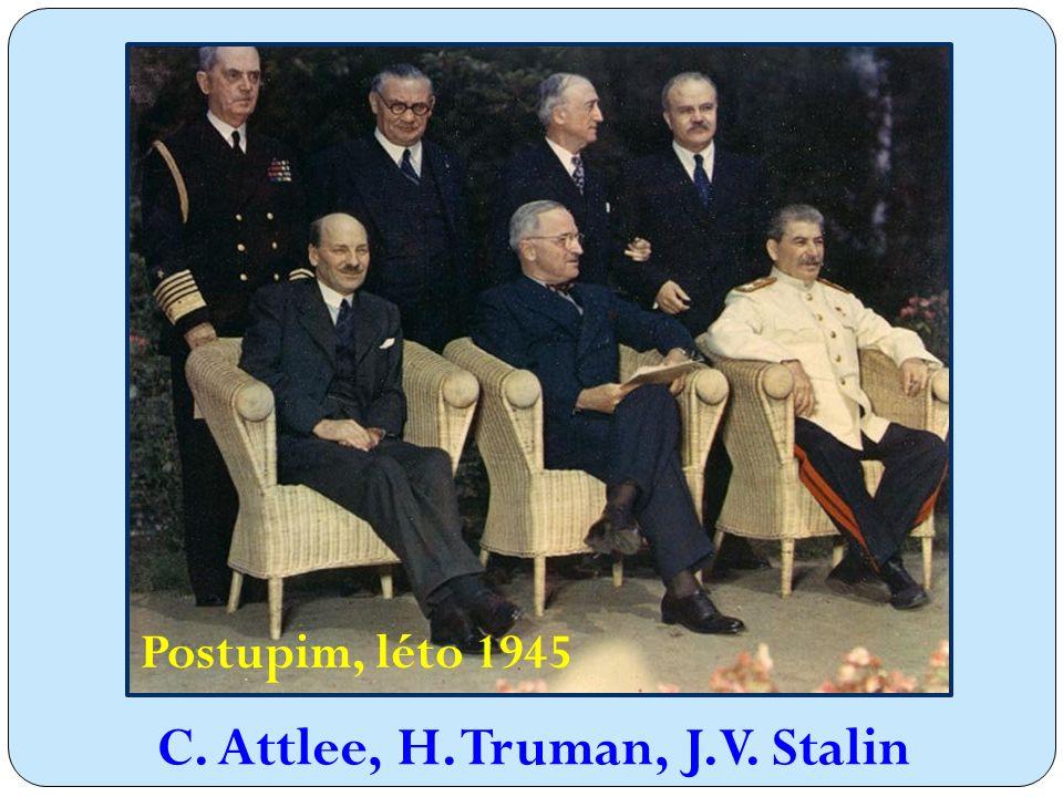Postupim, léto 1945 C. Attlee, H. Truman, J.V. Stalin
