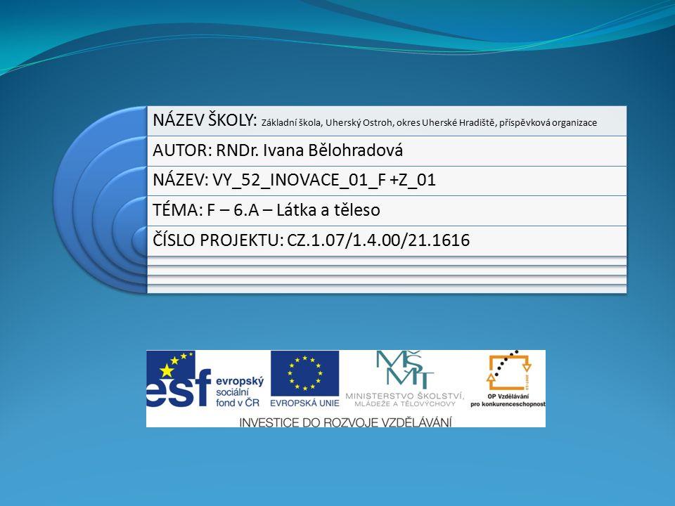 NÁZEV ŠKOLY: Základní škola, Uherský Ostroh, okres Uherské Hradiště, příspěvková organizace AUTOR: RNDr.