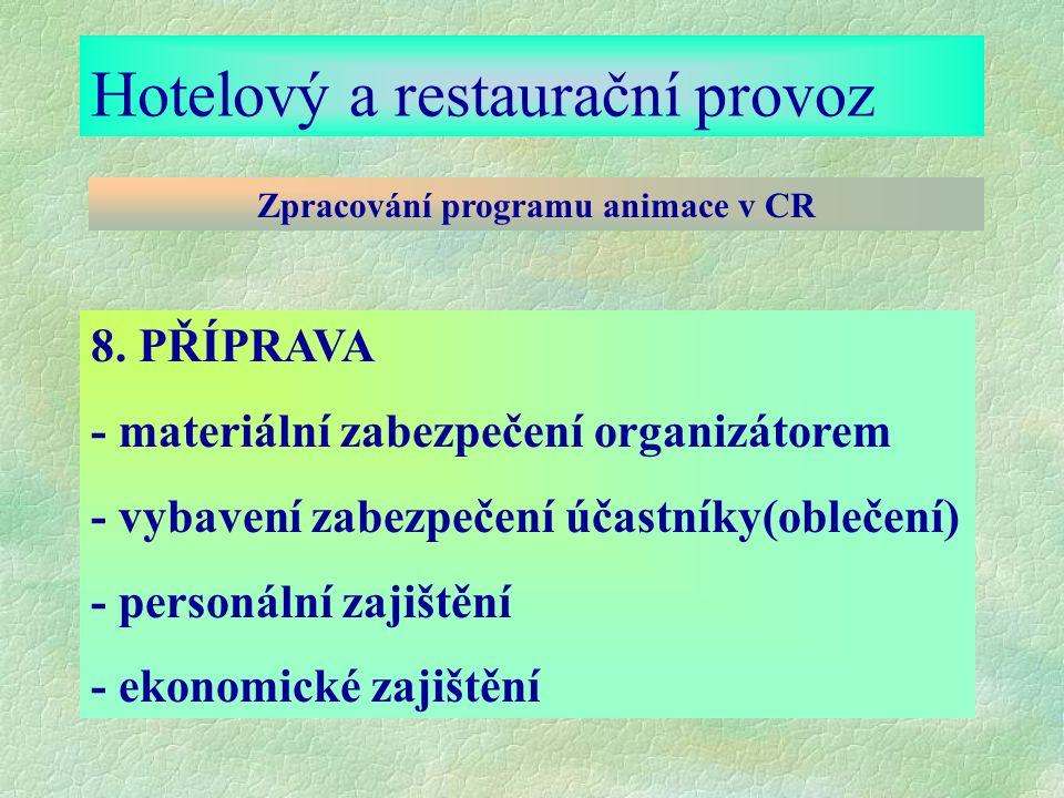 Hotelový a restaurační provoz Zpracování programu animace v CR 8.